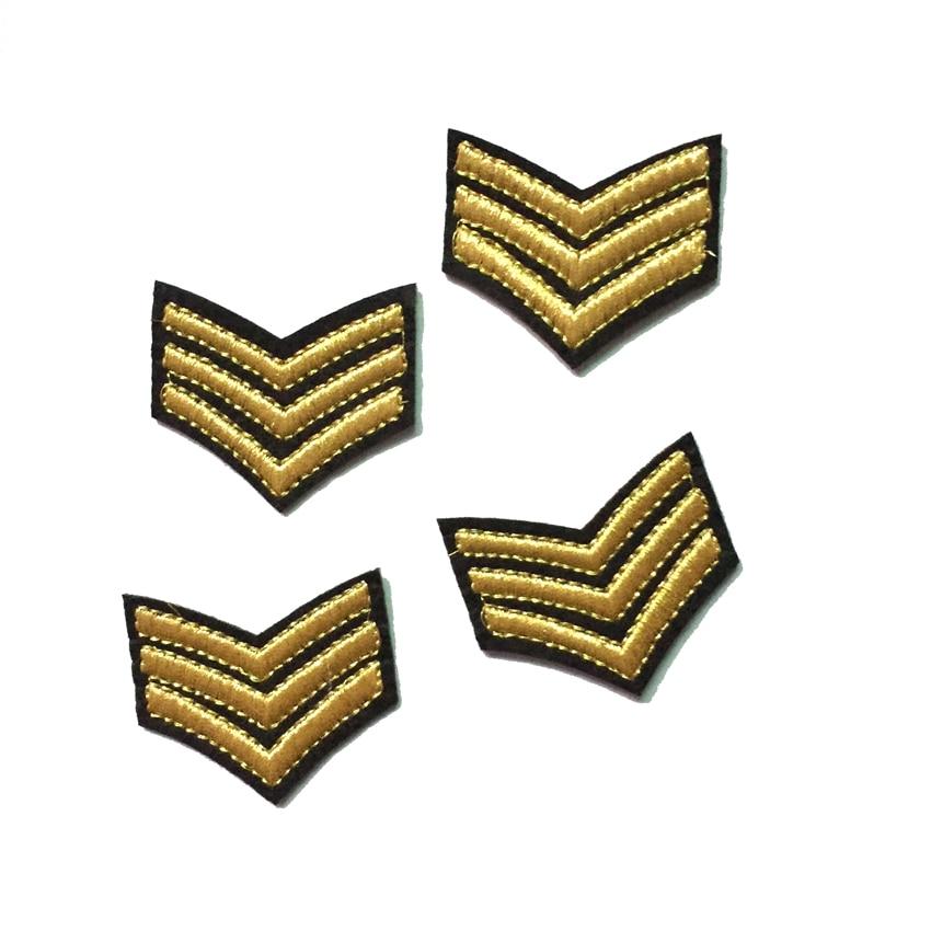 ᗕ2 unidades oro sargento rayas de hierro en Patch Telas motif ...
