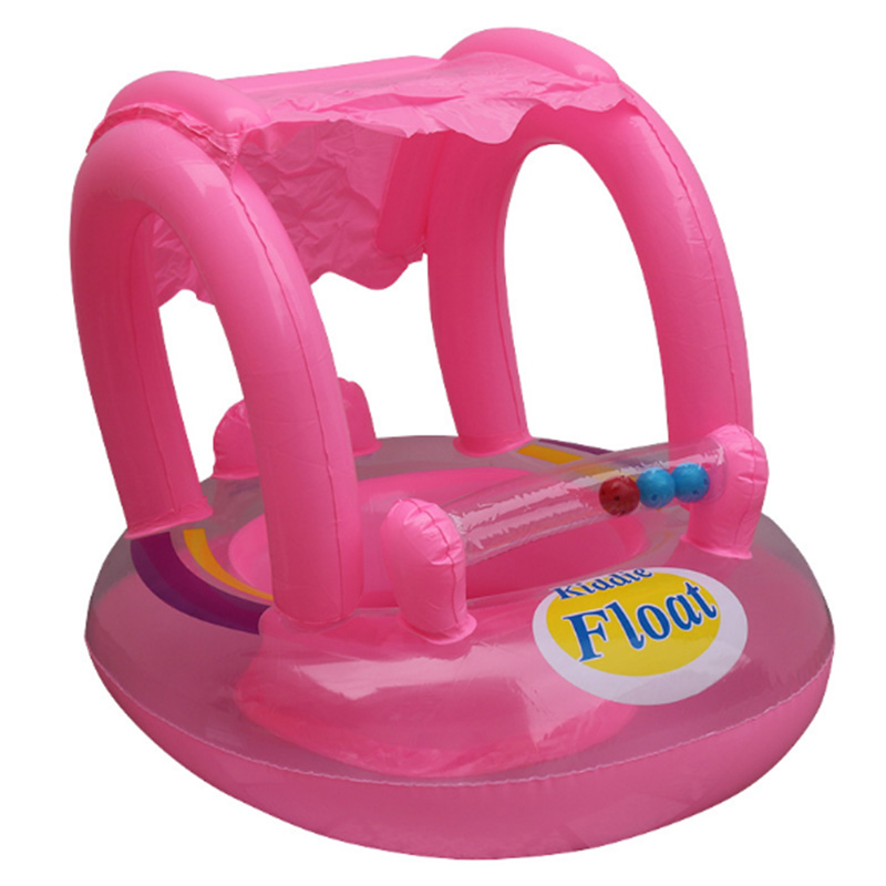 Inflatable Baby Seat Ring Pool Float With Sunshade Swimming Circle ...
