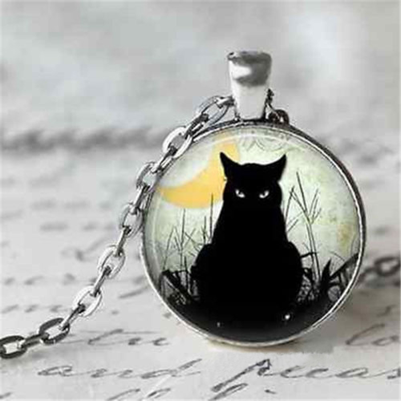Vintage Jewelry Silver Plated with Glass Cabochon Black Cat Pattern Choker Long Pendant Necklace for Women Gift