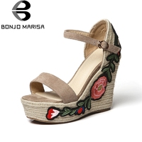 BONJOMARISA 2018 Summer Brand High Quality Natural Suede Women Sandals Thick Platform High Wedges Heels Embroider