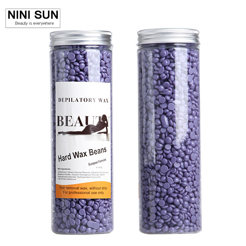 Hot Film Hard Wax Beans Pellet Waxing Bikini Hair Removal Wax 400g Purple Lavender Taste Depilatory Wax for Beauty Treatment 300g hard wax beans pellet waxing bikini hair removal wax beeswax lavender banana rose tea strawberry chamomile