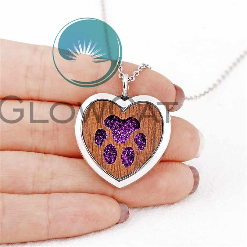Mieszane serce drewniane medalion naszyjnik dyfuzor olejek magnetyczny medalion stali nierdzewnej łańcuch perfumy zapach naszyjnik