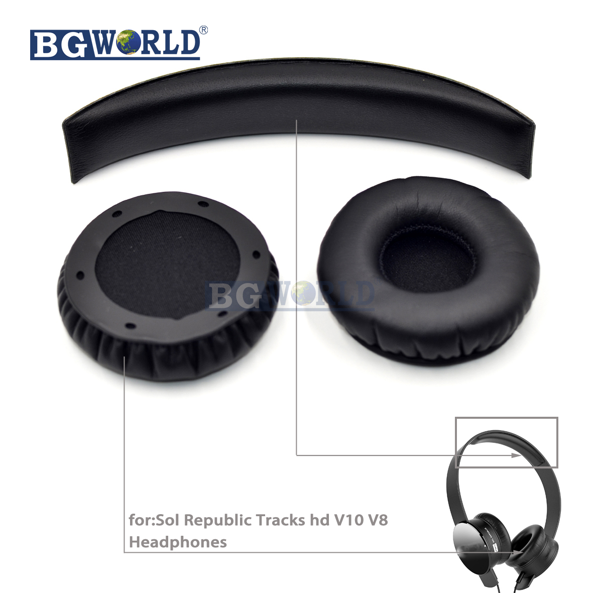 BGWORLD Replacement Ear pads cushion for SOL Republic V8 v10 Tracks On-Ear Headphones parts headset