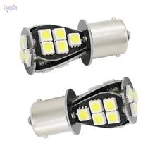 2pcs Car Bulb 1156 BA15S 1157 BAY15D Canbus Error Free P21W LED Lamp Brake Reverse Turn Signal Light for VW Touran Passat Amber