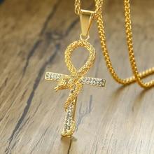 купить Titanium steel With Rhinestone Snake Wrapped Anka Cross Pendant & Necklace For Men Jewelry Dropshipping дешево