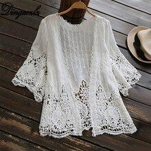 Dingaozlz белый свободный v-образный вырез выдалбливают вышитые крючком кружева кардиган рубашка Blusas летние женские топы Сексуальная Пляжная рубашка