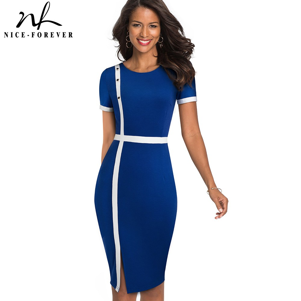 Nice-Forever Elegant Vintage Contrast Color Patchwork Office Button Vestidos Business Work Bodycon Sheath Women Dress B520
