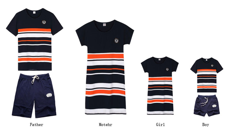 Plus Größe Familie Kleidung 2019 Sommer Mode Gestreiften T-shirt Outfits Mutter Tochter Kleider Vater Sohn Junge Mädchen Kleidung set