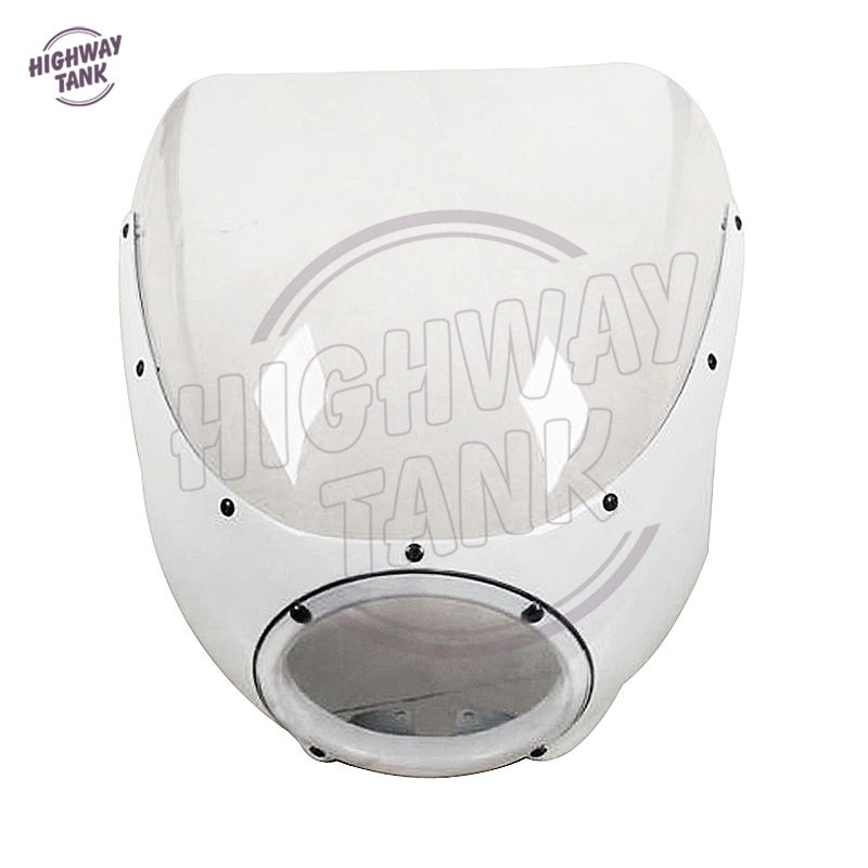 1 Pcs Motorcycle White Cafe Racer Headlight Fairing Windscreen Motor Front Windshield case for Harley Sportster XL 883 Dyna цены онлайн