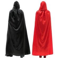 Длинный атласный плащ для взрослых, Костюм Вампирши для ролевых игр на Хэллоуин, рождественскую вечеринку, костюм с капюшоном, Костюм Вампирши для ролевых игр, костюмы унисекс, костюм дьявола