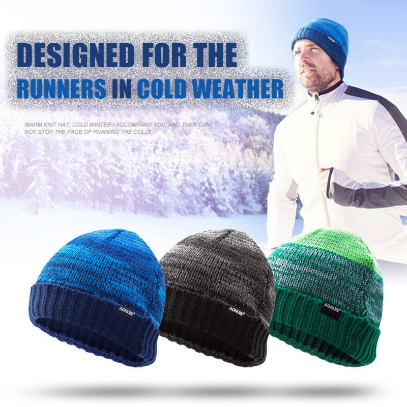 Winter Running Caps Knitting Hat Men Women Winter Knitting Skull Wool Cap Warm Slouchy Beanie Hat Sport Caps Headgear