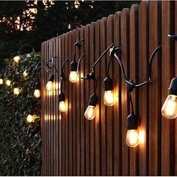 China Original Made Fabrik Großhandel EU 14,4 Mt PVC Kupferdraht Garten Pergola Vintage Helligkeit Licht String Outdoor