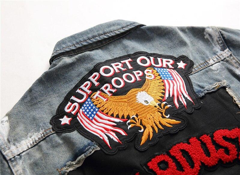 A9045 Bandera Cartas Estilo Slim Tigre Vaqueros Prendas Blazer Y As Decoración Apliques De Americano Hombre Placa Abrigo Europeo Pic Chaquetas qgTI5Iw