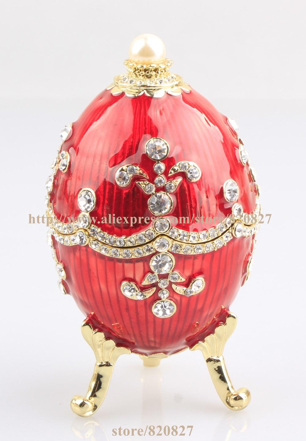 Faberge Egg Trinket Box Hand Made Gift Crystal Faberge Easter Egg Figurine Decor Vintage Russia Egg Magnet Craft beistle company mens easter egg whirls assorted