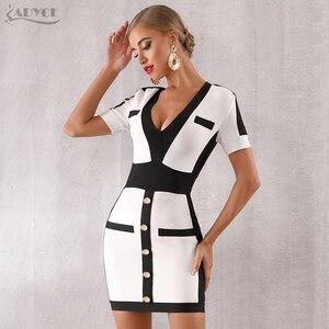 Image 5 - Adyce 2020 新夏の女性の包帯ドレス vestido セレブイブニングパーティードレスセクシーなディープ v 半袖ミニボディコンクラブドレス