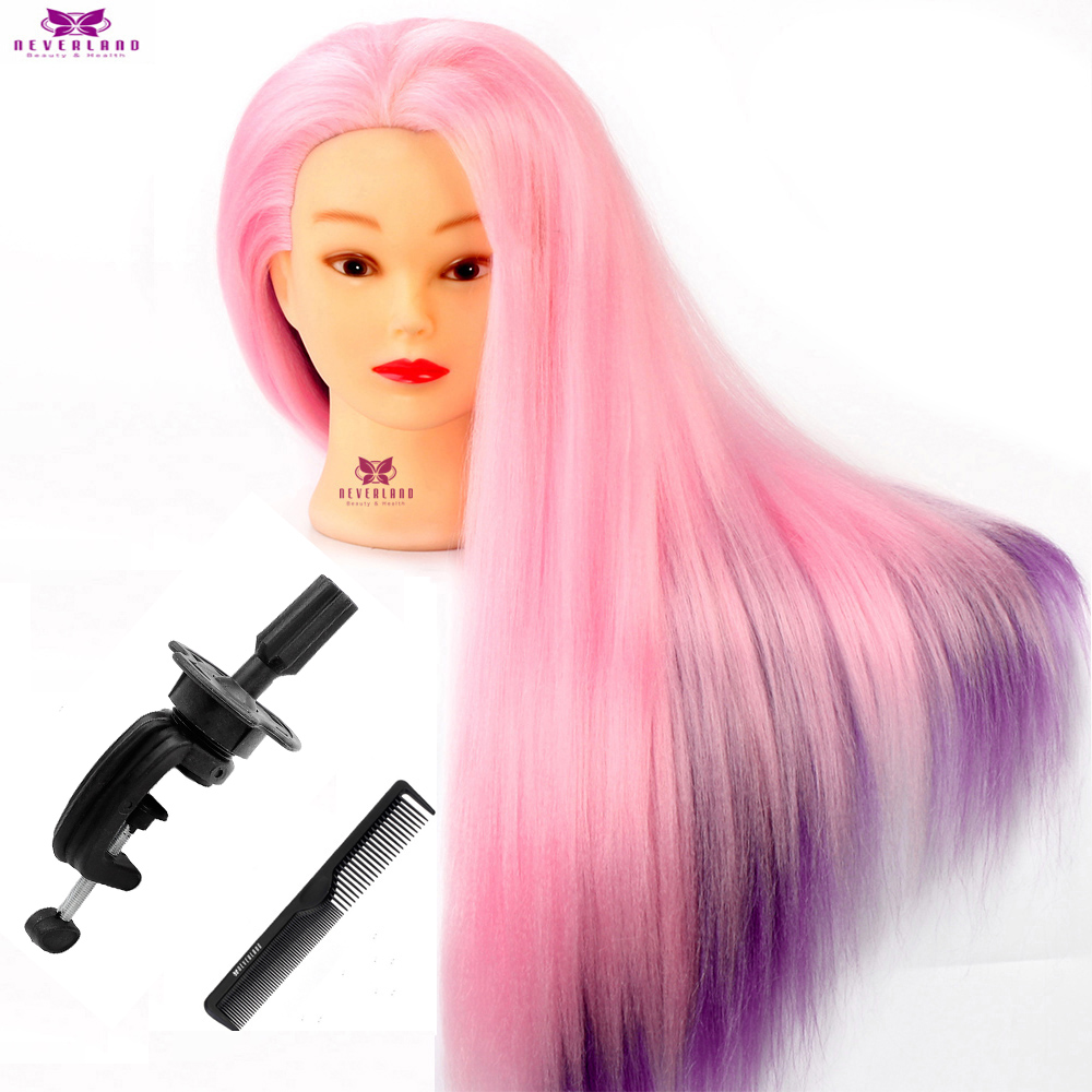 24'' Hairdressing Rainbow Pink Hair Cosmetology Mannequin Head Hairstyles Braiding Synthetic Training Doll Manikin Heads+ Combs
