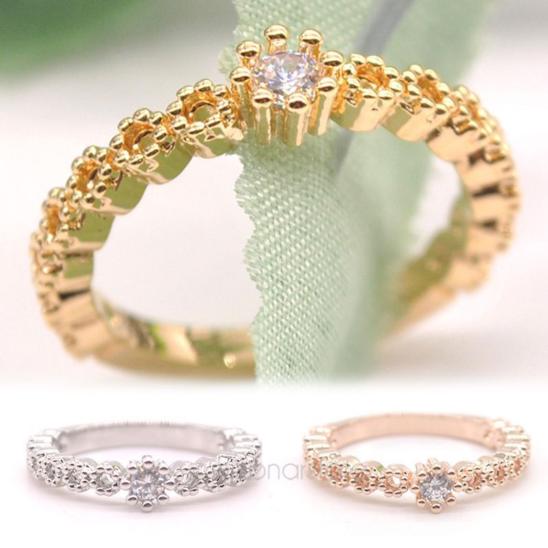 Fresh Style Fine Jewelry OL Lady Rose Gold Rings Crystal Crown ...