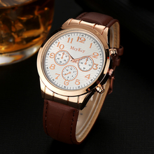 Mcykcy Brand Men Fashion Luxury Watch Rose Gold Leather Strap Quartz Wristwatch Sport Casual Women Dress Watches Relogio MY014