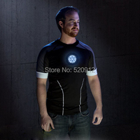 סאונד הופעל LED חולצת טריקו גברים נוקמי איש הברזל טוני סטארק tshirts חולצות כותנה באיכות גבוהה EL הזוהר