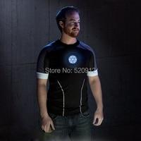 Sound Activated LED T Shirt Men The Avengers Tshirts Iron Man Tony Stark High Quality EL
