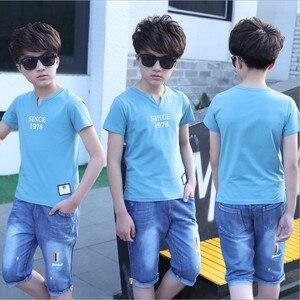 Image 2 - 5 14 שנים בני בגדי ספורט חליפת סט 2018 קיץ אופנה מזדמן קצר שרוול בגדי ילדים חולצה + ג ינס סט