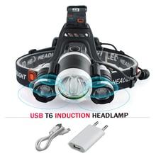 ИК сенсор индукционный налобный фонарь cree xml 3t6 USB светодиодные фары фонарик headtorch 18650 батарея Рыбалка Шахтерский фонарь hoofdlamp