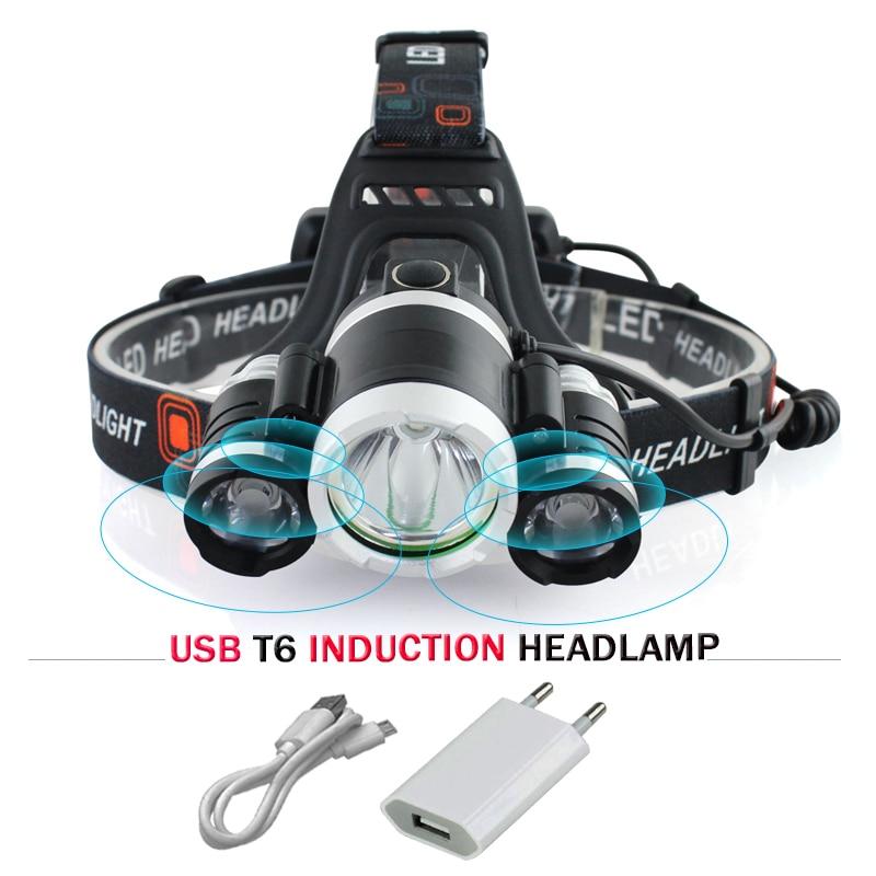 Sensor de infrarrojos de inducción de faro cree xml 3t6 USB linterna led linterna batería 18650 pesca lámpara de cabeza hoofdlamp