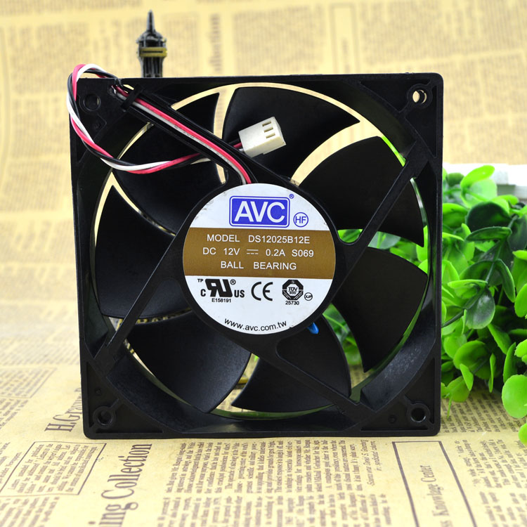 AVC DS12025B12E 120*120*<font><b>25</b></font> <font><b>mm</b></font> 3-pin PWM chassis power CPU computer cooling <font><b>fan</b></font> image