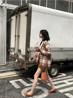 Retro Plaid loose knit cardigan female long sleeve 2018 autumn new Korean sweater