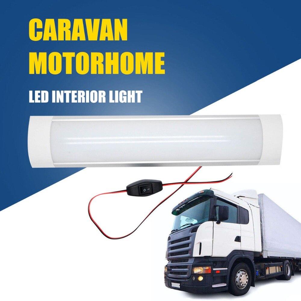 2pcs 12V/24V 10W Waterproof LED Interior Strip Lights Bar For Caravan Camper Motorhome White