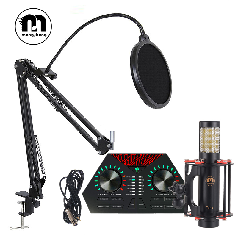 MS Tank Upgrade BM800 Professional Studio USB Condenser Microphone for Computor Video Recording Microphone Kits+Live sound card