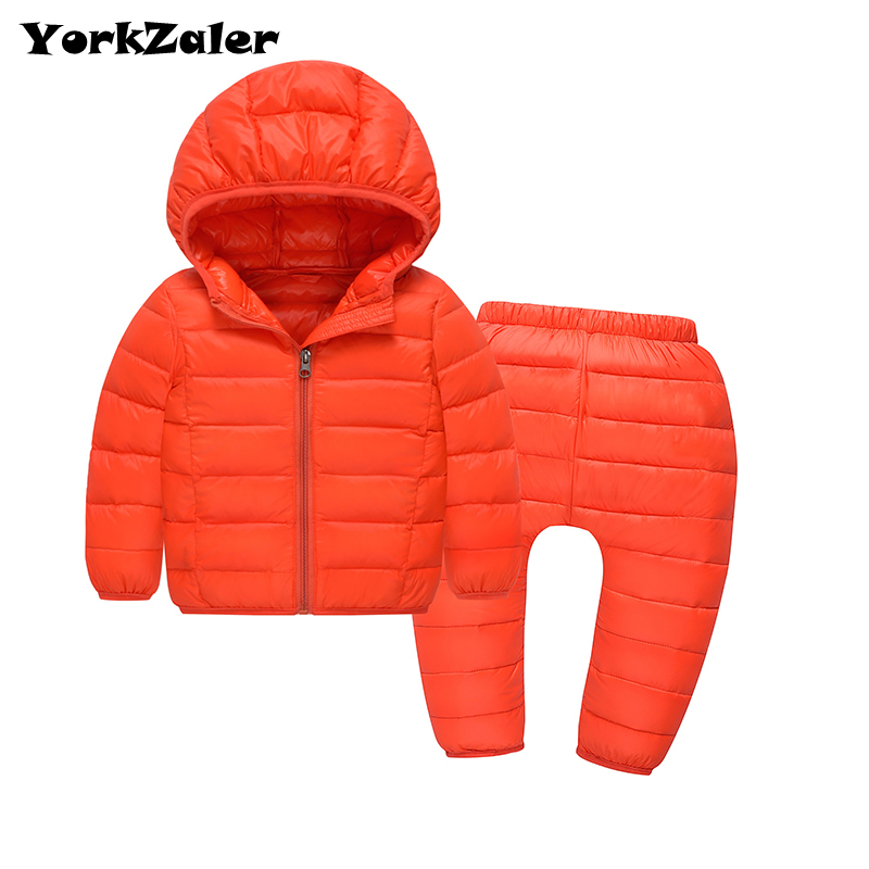 Yorkzaler Winter Clothes Set Kids Hooded Duck Down Jacket With Solid Warm Pants Baby Clothing Set 24M-5Y Thicken Russia Coats