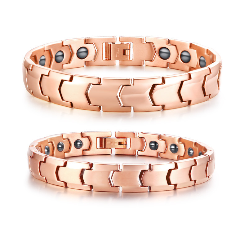 Couple Sets Titanium Biomagnetic Energy Therapy Bracelets in Rose Golden Neodymium Bio Magnets Bracelet for Men Women Jewelry stylish golden hollow rounded rectangle hasp bracelet for women