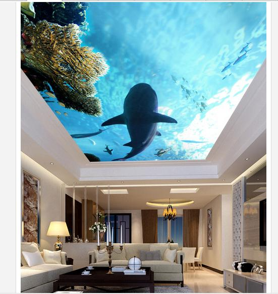 Us 13 36 49 Off Customized 3d Wallpaper 3d Ceiling Wallpaper Murals Marine Coral Shark Living Room Bedroom Ceiling Ceiling Frescoes Decoration In