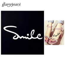 1 PC Small Henna Tattoo Stencil Smile Drawing For Airbrush Painting Women Arm Leg Body Art Waterproof Tattoo Stencil Fashion G07