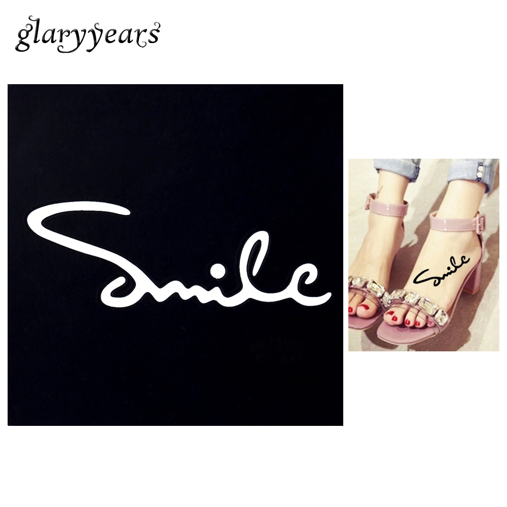 1 PC Small Henna Tattoo Stencil Smile Drawing for Airbrush Painting Women Arm Leg Body Art Waterproof Tattoo Stencil Fashion G07 目