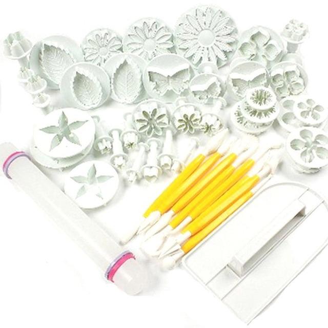 New 46Pcs/set Fondant Cake Decorating Sugarcraft Plunger Cutter Tools Mold Cookies full set mold