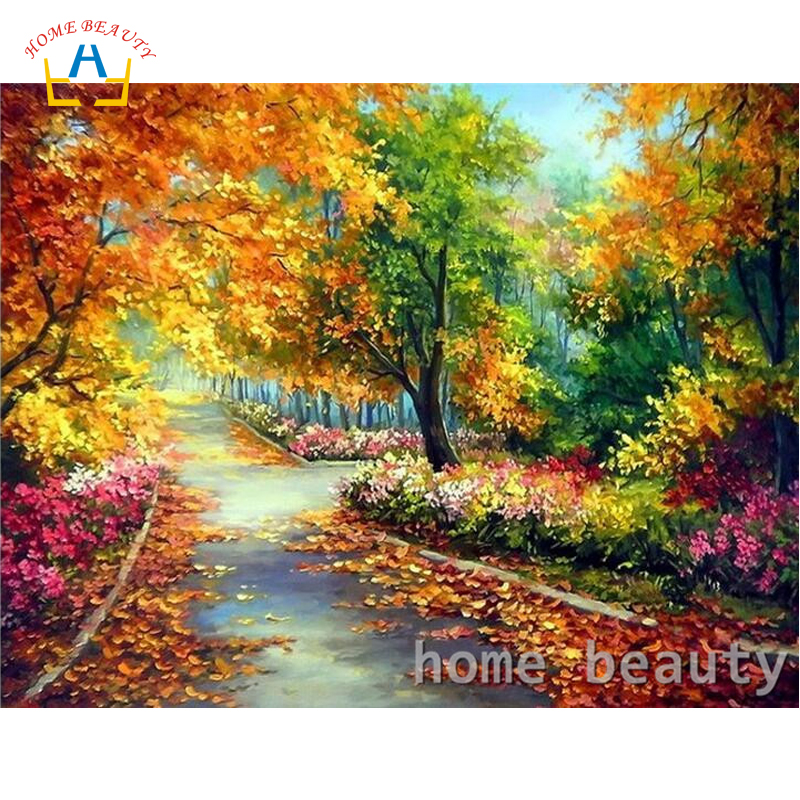 HOME BEAUTY Painting Calligraphy autumn park wall modular picture paintings for the hall diy painting by numbers home decor Y091