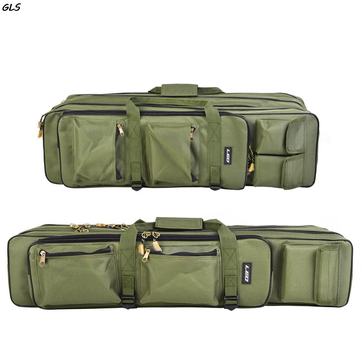 80 cm/100 cm sac de pêche pliable extérieur 3 couches sac de pêche pôle de pêche sac de transport sac de voyage