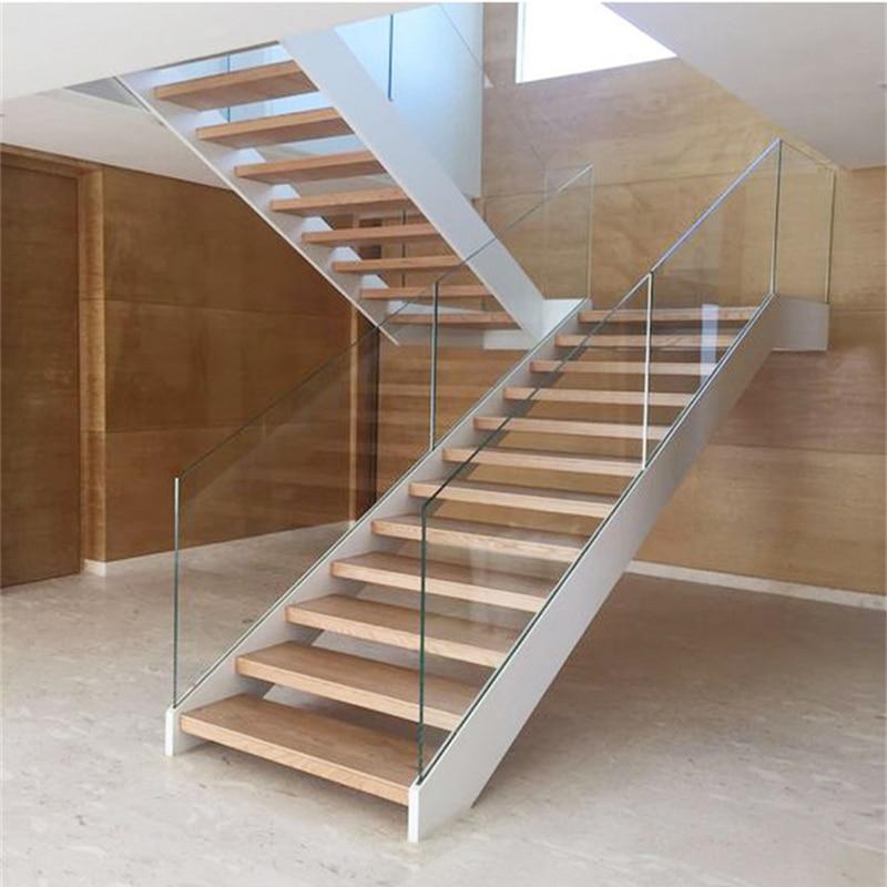 Foshan Factory Tempered Glass Wood U Shape Stairs House Staircase   Staircase Wood And Glass   Commercial Wood   New   Ash Wood   Simple Glass   Glass Bal