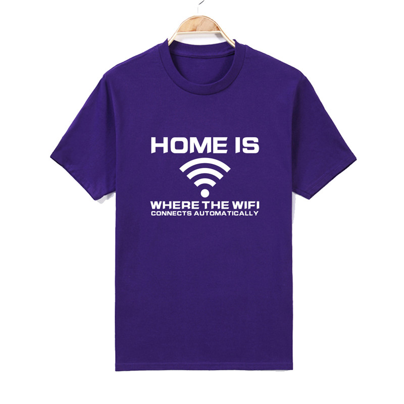 Mens T shirts Home Is Where Your WIFI Connects Automatically Geek Programmer T-Shirt Short Sleeve Cotton O-Neck S-2XL Top Tee