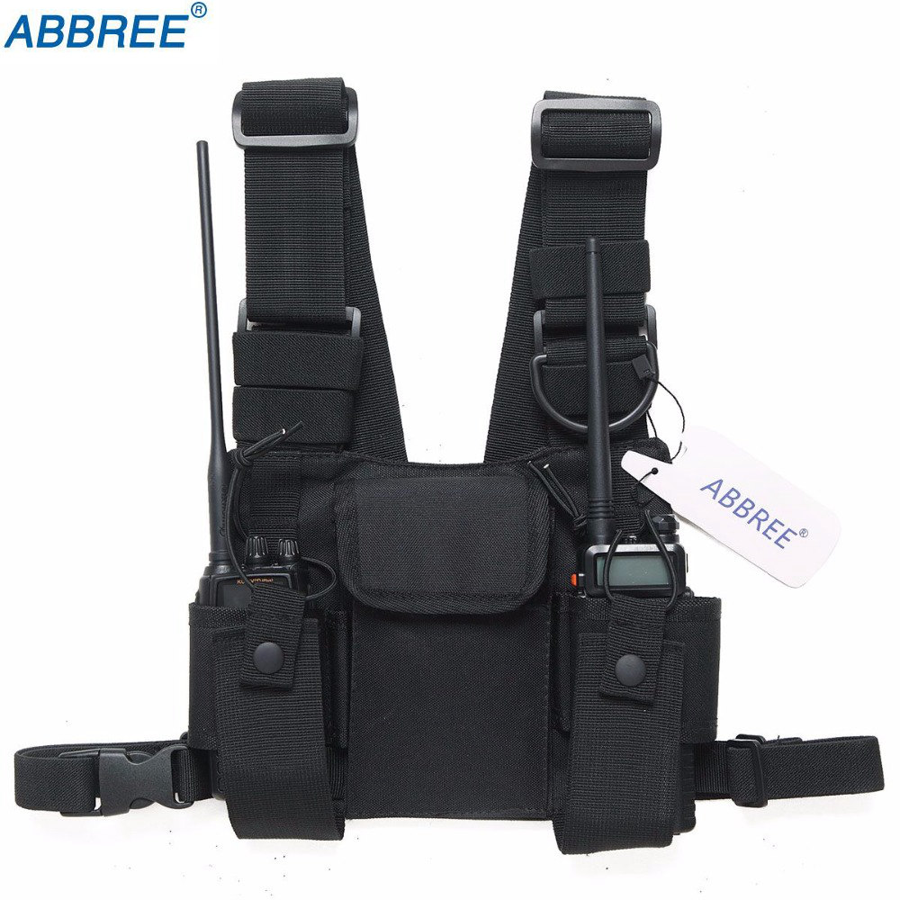 Voionair 2 Pcs Nylon Adjustable Hands-free Two Way Radio Pouch Chest Front Pack Communication Equipments