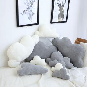 Lovely Gray White Cloud Shaped Pillow Cushion Stuffed Plush Toy Bedding Baby room Home Decoration Gift Girl Birthday Present