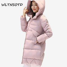 2017 Real Promotion Full Women Winter Parkas Long Female Warm Slim Hooded Jacket Coat Cotton Zipper Broadcloth Solid Thick
