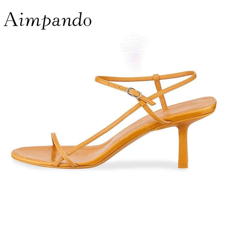 2019 Chic Design Sheepskin Gladiator Sandals Woman Peep Toe Narrow Belt 6cm High Heel Shoes Woman