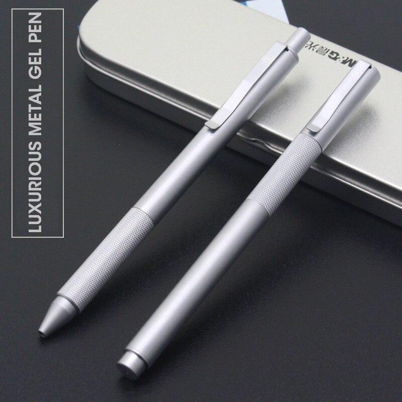 M & G do Metal De Luxo Gel Pen 0.5 milímetros Baixo Centro de Gravidade de Aço Inoxidável Black Gel Ink Canetas Papelaria para material de Escritório Escola