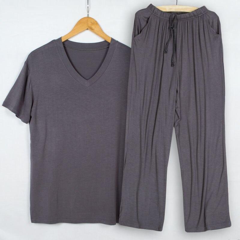 Pijamas de Verão Hombre com Decote em v Calças de Manga Homens Modal Fina Pijama Curta Tshirt Dormir Duas Peças Conjunto Loungewear Tamanho Grande