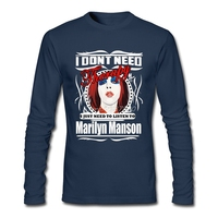 Marilyn Manson T Shirt O Neck Cotton Long Sleeve Custom Metal Rock Star T Shirts For