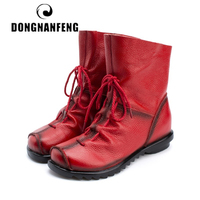 DONGNANFENG New Women Old Mother Female Ladies Shoes Boots Retro Lace Up Cow Genuine Leather Pigskin Casual Size 35 42 ZN 1806