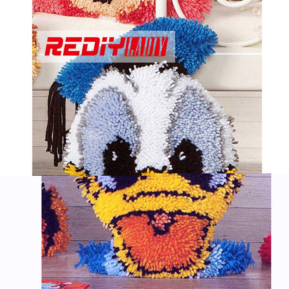 REDIY LADIY Trava Hook Almofada Kits para Bordar Pré-impresso a Cores Dos Desenhos Animados Da Lona Pato Rosto Travesseiro Sofá Casa Decorativo artesanato